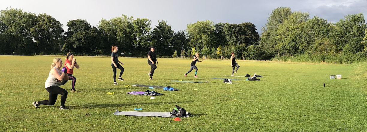 Outdoor fitness class in Bishop's Park Playing Fields